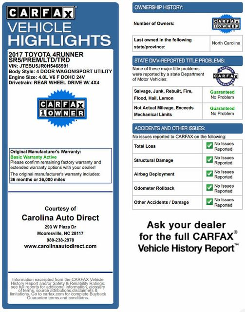 2017 Toyota 4Runner SR5 Premium 4x4 - LIFTED - EXTRA$ - NAV - SUNROOF! Mooresville , NC 4