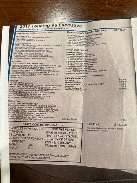 2017 Volkswagen Touareg Executive Edition Executive Limited EDITION in Boerne, Texas 78006