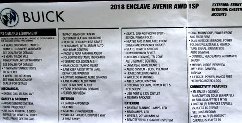 2018 Buick Enclave Avenir with Premium Pack, Tech Pack GM Company car   Rishe's Import Center in Ogdensburg, NY