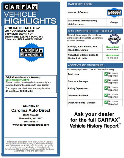 2018 Cadillac V-Series CTS-V LUXURY EDITION - RECARO - DATA RECORDER! Mooresville , NC 3