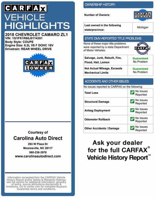 2018 Chevrolet Camaro ZL1 - NAV - SUNROOF - PERFORMANCE RECORDER! Mooresville , NC 3