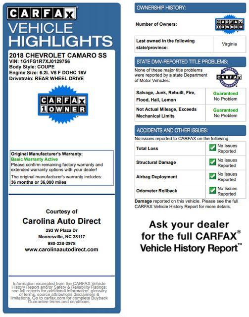 2018 Chevrolet Camaro 2SS/SS 1LE TRACK PERFORMANCE PKG - NAV - MAG RIDE! Mooresville , NC 3