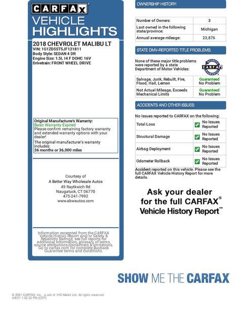 2018 Chevrolet Malibu LT Naugatuck, Connecticut 1