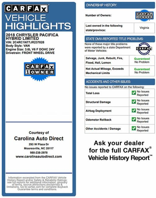 2018 Chrysler Pacifica Hybrid Limited FWD - ADVANCED SAFETY TEC PKG! Mooresville , NC 3