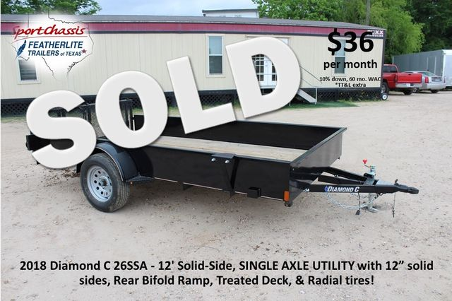 2018 Diamond C 26SSA - 12' Solid-Side, SINGLE AXLE UTILITY CONROE, TX 0