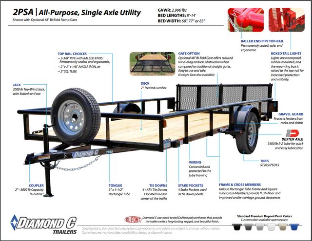 2018 Diamond C 2PSA - 14' ATV All-Around Single Axle Utility Trailer CONROE, TX 1