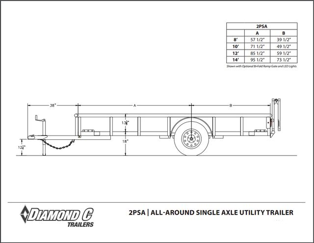 2018 Diamond C 2PSA - 14' ATV All-Around Single Axle Utility Trailer CONROE, TX 28