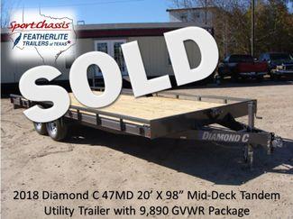 "2018 Diamond C 47MD 20' x 98"" - Mid-Deck Tandem Utility Trailer CONROE, TX"