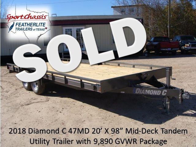 "2018 Diamond C 47MD 20' x 98"" - Mid-Deck Tandem Utility Trailer CONROE, TX 0"