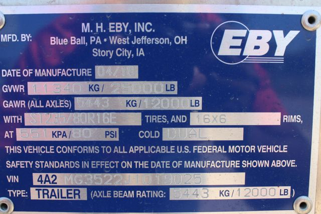 2018 Eby 35' GN EQUIPMENT Flatbed Equipment Trailer 25K GVWR 12Ks 6,800 lbs. CONROE, TX 22