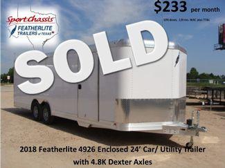 2018 Featherlite 4926 - 24' Enclosed Car / Utility Trailer CONROE, TX