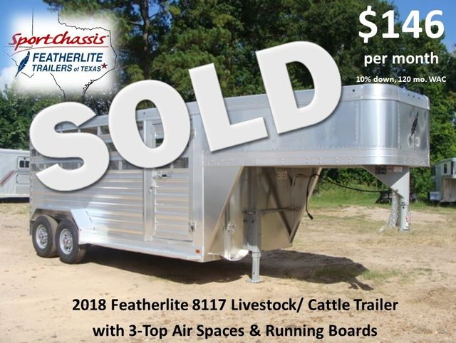 2018 Featherlite 8117 - 16 Livestock 16' Stock/ Cattle CONROE, TX