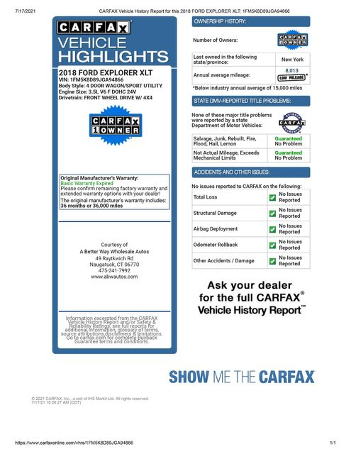 2018 Ford Explorer XLT 4WD Naugatuck, Connecticut 1