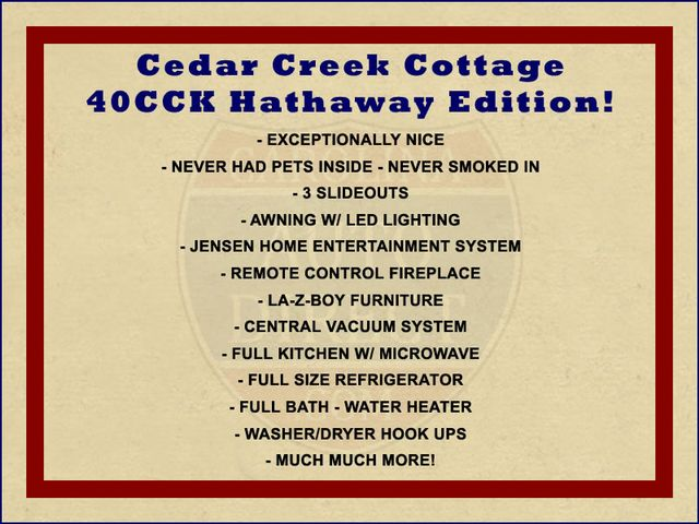 2018 Forest River Cedar Creek Cottage 40CCK Hathaway Edition Mooresville , NC 1