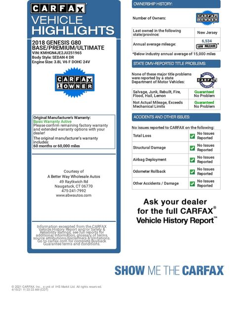 2018 Genesis G80 3.8L AWD Naugatuck, Connecticut 1