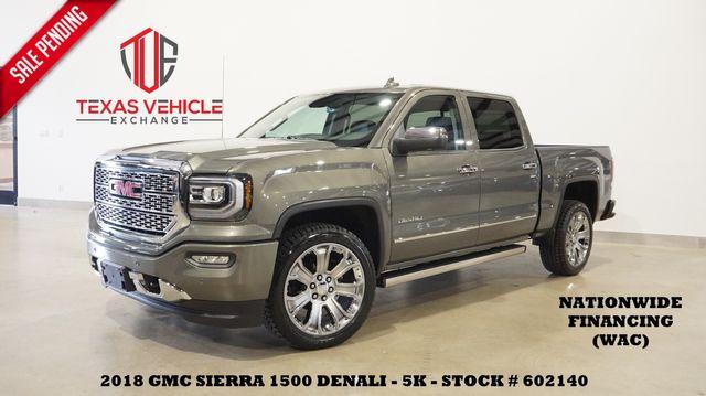 2018 GMC Sierra 1500 Denali 4X4 6.2L,ROOF,NAV,HTD/COOL LTH,22'S,5K