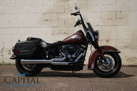 2018 Harley-Davidson Heritage Softail FLHCS with 114ci V-Twin, LED Head Light, Hard Saddle Bags and Vance & Hines Exhaust in Eau Claire