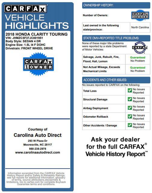 2018 Honda Clarity Plug-In Hybrid Touring - NAV - HEATED LEATHER - HONDA SENSING! Mooresville , NC 3