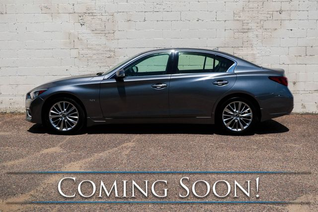 2018 Infiniti Q50 3.0t LUXE AWD Sport Sedan w/Dual Touchscreens, Backup Cam, Heated Seats, Moonroof & BT Audio in Eau Claire, Wisconsin 54703