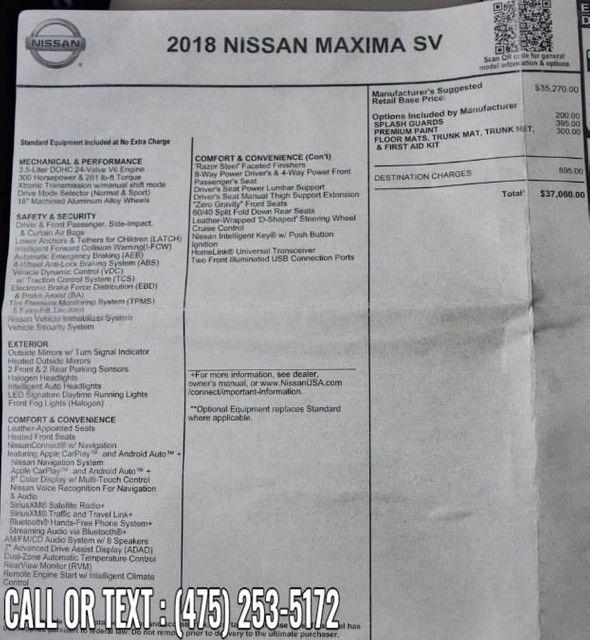 2018 Nissan Maxima SV Waterbury, Connecticut 32