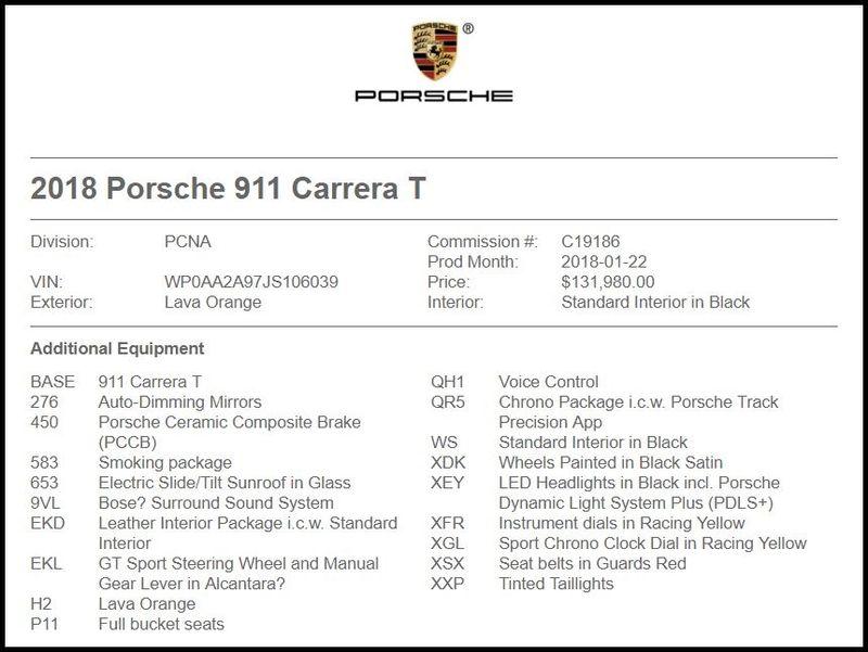 2018 Porsche 911 Carrera T in Carrollton, TX