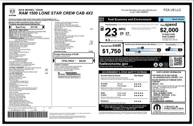 2018 Ram 1500 Lone Star in Addison, Texas 75001
