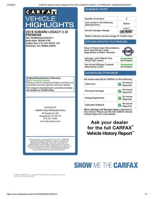 2018 Subaru Legacy Premium AWD Naugatuck, Connecticut 1