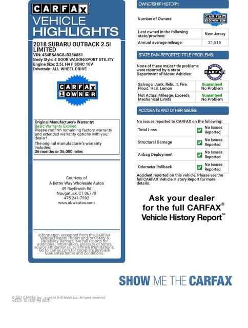 2018 Subaru Outback Limited AWD Naugatuck, Connecticut 1