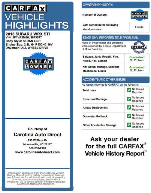 2018 Subaru WRX STI AWD - HEATED LEATHER - CNT RACING EXHAUST! Mooresville , NC 3