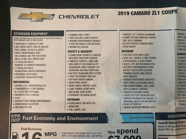 2019 Chevrolet Camaro ZL1 1LE EXTREME TRACK PERFORMANCE PACKAGE in Jacksonville , FL 32246