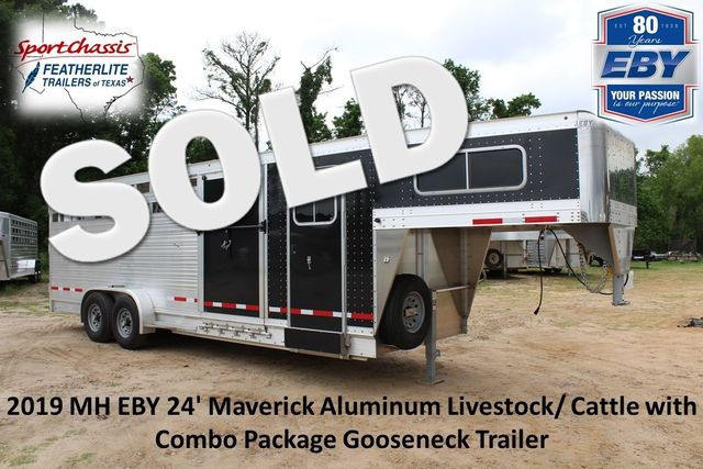 2019 Eby MAVERICK 24' STOCK/ COMBO Goose Neck with Front Tack & side CONROE, TX