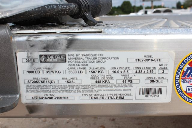 "2019 Featherlite 3182 - 16 16' OPEN CAR HAULER 83.5"" WIDE DECK ALUMINUM WHLS CONROE, TX 18"