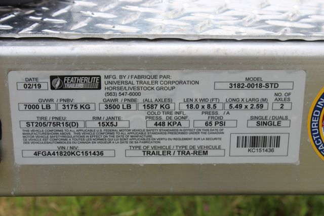 2019 Featherlite 3182 - 18 18' OPEN CAR TRAILER WITH ALUMINUM WHEELS CONROE, TX