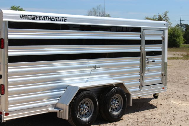 2019 Featherlite 8107 16' LO-PRO STOCK TRAILER SLIDING CUT GATES CONROE, TX 17