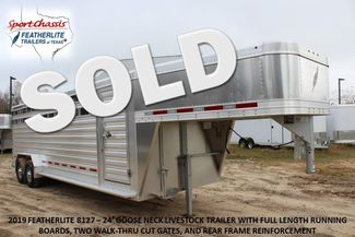 2019 Featherlite 8127 - 24 24' LIVESTOCK CATTLE GN TRAILER WITH 2 CUT GATES CONROE, TX
