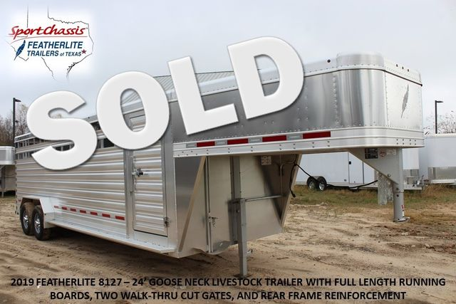 2019 Featherlite 8127 - 24 24' LIVESTOCK CATTLE GN TRAILER WITH 2 CUT GATES CONROE, TX 0