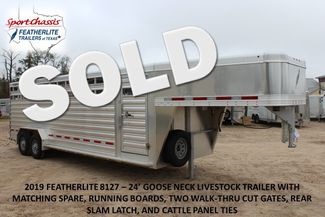 2019 Featherlite 8127 LIVESTOCK CATTLE GN TRAILER WITH 2 CUT GATES CONROE, TX