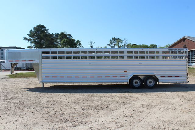 2019 Featherlite 8127 - 30 30' CATTLE TRAILER - 7'6 WIDE - DROP WALL VENTS CONROE, TX 9