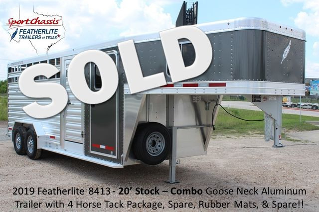 2019 Featherlite 8413 - STOCK/ COMBO 20' - Straight Wall Tack CONROE, TX 0