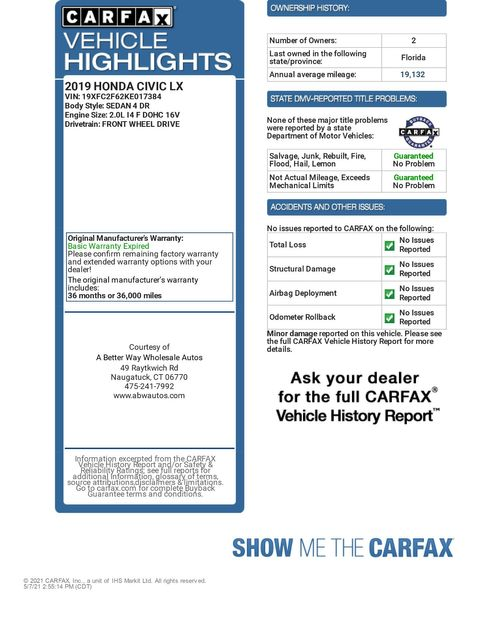 2019 Honda Civic LX Naugatuck, Connecticut 1