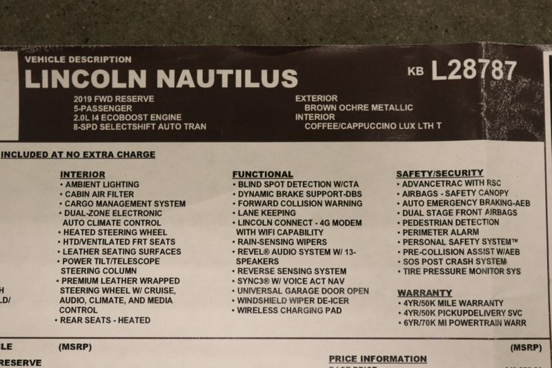 2019 Lincoln Nautilus Reserve  city NC  The Group NC  in Mansfield, NC