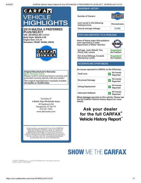 2019 Mazda Mazda3 Sedan w/Select Pkg Naugatuck, Connecticut 1