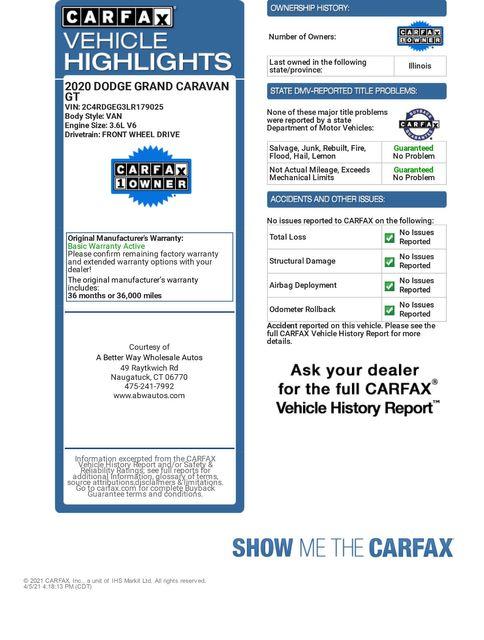 2020 Dodge Grand Caravan GT Naugatuck, Connecticut 1