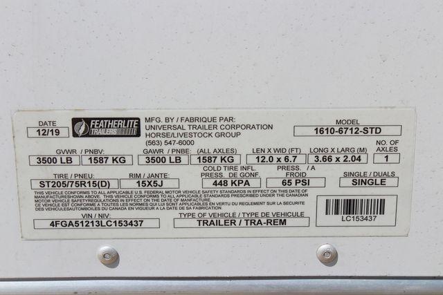 2020 Featherlite 1610 12' ENCLOSED UTILITY TRAILER - 7' TALL CONROE, TX 26