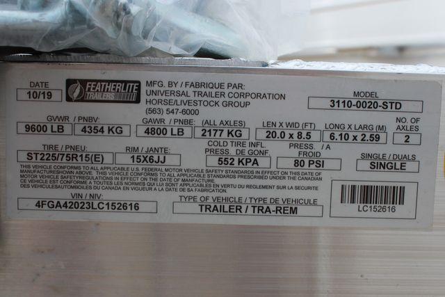 2020 Featherlite 3110 20' FLATBED OPEN CAR TRAILER RAISED DECK RUB RAILS CONROE, TX 18