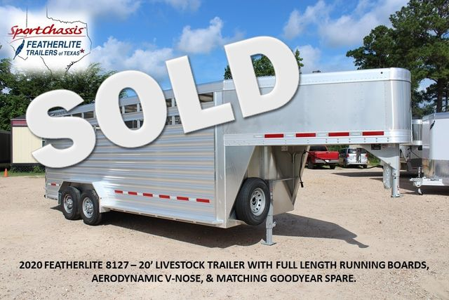 2020 Featherlite 8127 - 20 20' V-NOSE LIVESTOCK TRAILER 7' TALL & 7'WIDE CONROE, TX 0