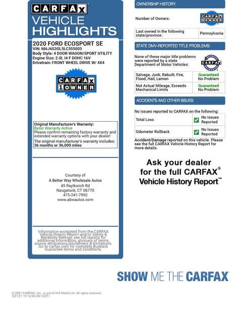 2020 Ford EcoSport SE 4WD Naugatuck, Connecticut 1