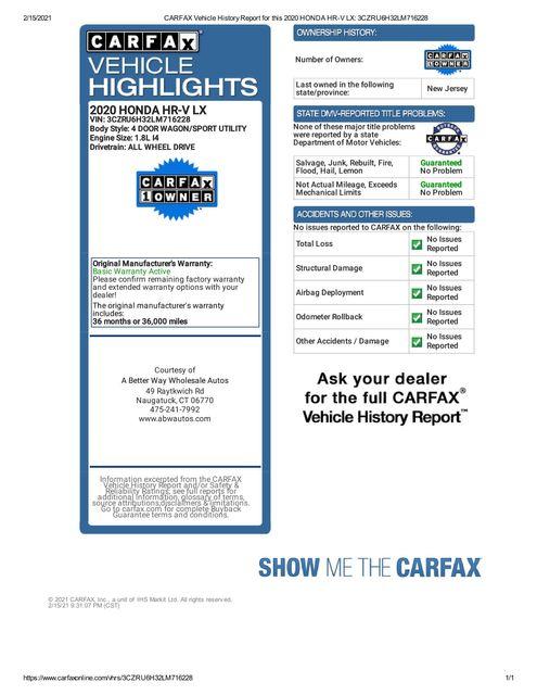 2020 Honda HR-V LX Naugatuck, Connecticut 1