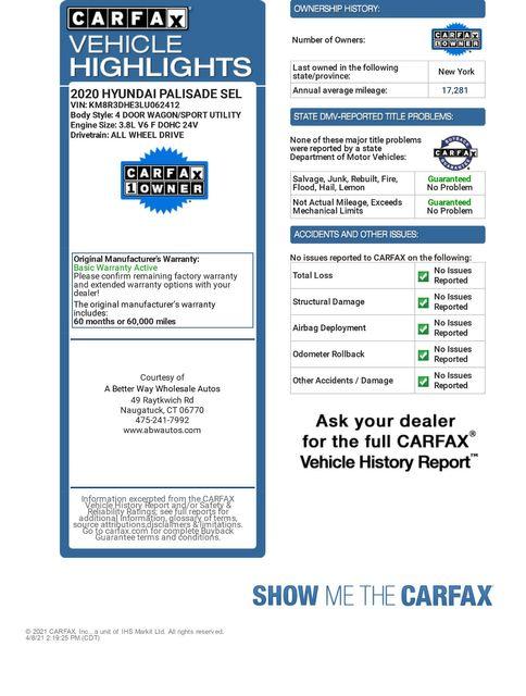 2020 Hyundai Palisade SEL AWD Naugatuck, Connecticut 1