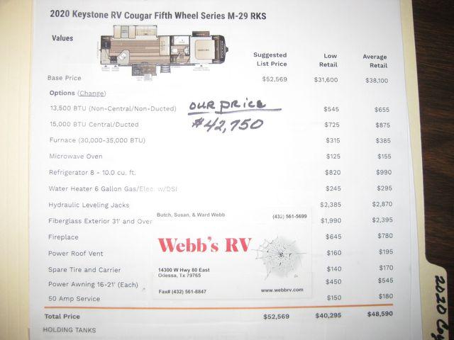 2020 Keystone Cougar 29RKS Odessa, Texas 19